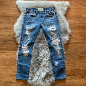 FREE PEOPLE destroyed crop ankle jeans